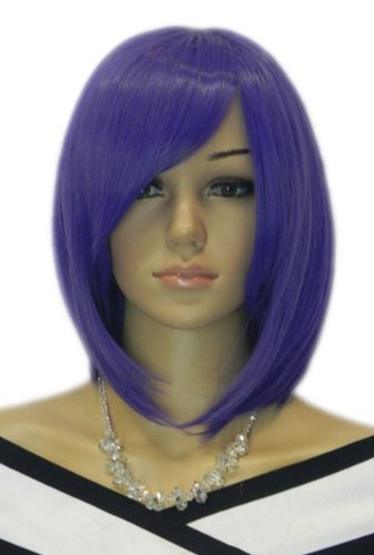 Qiyun Moyen Raide Court Fonce Violet Complete Cheveux Cosplay Costume Perruque