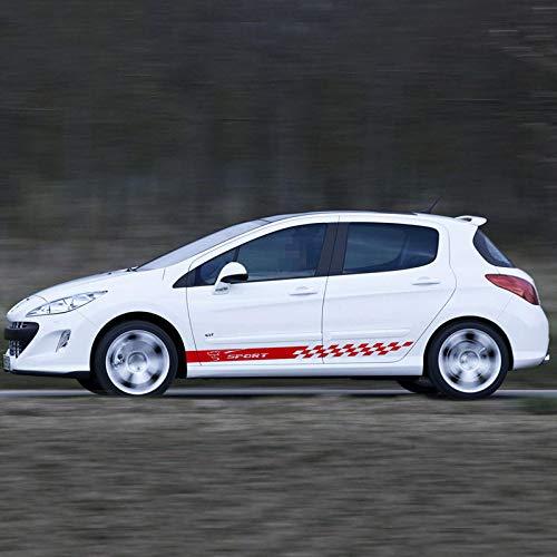 HLLebw Auto Seitenstreifen Seitenaufkleber Aufkleber, for Peugeot 107 206 108 308 508 2008 3008 5008 301 208