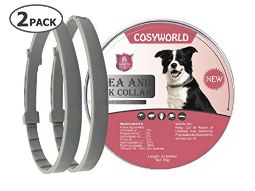 COSYWORLD 2 Pack Dogs Flea and Tick Collar - 8 Months Protection for Dog and Puppies - Waterproof, Adjustable, Hypoallergenic and Ultra Safe Insect Repellent with Natural Essential Oil