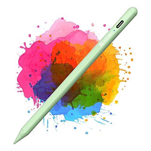 Coolreall Penne Touch per iPad 2018-2021, compatibili con iPad 8th&6th&7th iPad Air 4&3rd Mini 5th iPad PRO 11&12.9, con Rigetto del Palmo della Mano, Ricaricabile Attivo, sostituibile Pen nid, Verde