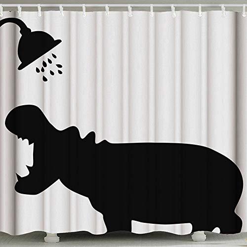 AKDSteel Niedlichen Katzendruck Badezimmer wasserdichtem Polyester Duschvorhang Nashorn Baden 180 * 180 cm