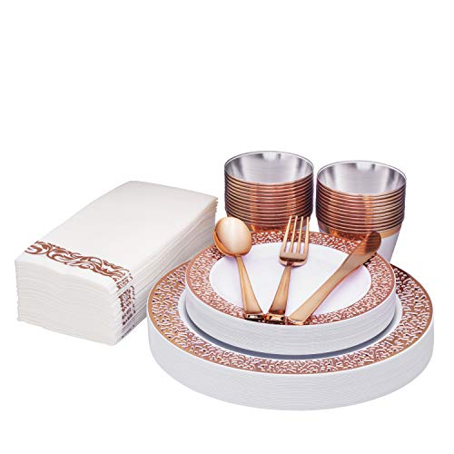 Rose Gold Disposable Dinnerware set 25 guest, Lace rim, 175 Pack Of Heavy-Duty Plastic Party - 25 Dinner Plates 10.25