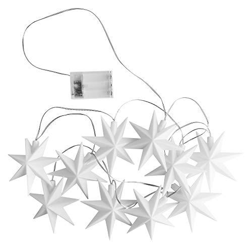 LED-Lichterkette Sterne | Indoor | 10 weiße Sterne | je Ø 12cm | je 1 LED in Warmweiß | batteriebetrieben | Timer-Funktion: 6 Stunden AN | 18 Stunden AUS | Fenster-Deko | Weihnachtsdeko