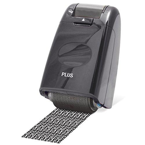 PLUS Japan, Datenschutz Rollstempel Camouflage in Schwarz, Textschwärzer, Identitätsschutz, 1er Pack (1 x 1 Rollstempel)