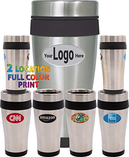 504 Pack Personalized Travel Mugs, 16 OZ Stainless Steel Insulated Tumblers with lid, Double wall coffee thermos, Customized full Colored Logo & Text, Commemorate your event, BPA Free (Black Trim)
