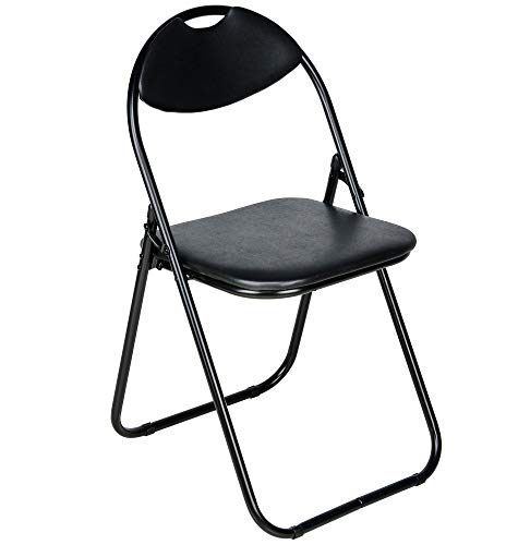 Nyxi Folding Chair Padded Paris Faux Leather Chair Home Office Dining (1 X Chair, Black)