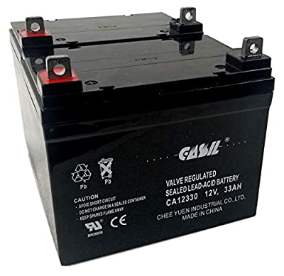 2 Pack CASIL 12v 33ah Deep Cycle Battery for 35ah Scooter Pride Mobility Jazzy Select Electric Wheelchair - 2 Pack in Series 24V