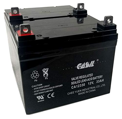 2 Pack 12V 33AH CA12330 Casil U1 Rechargeable Deep Cycle AGM SLA Battery Replaces 34AH, 35AH, 36AH