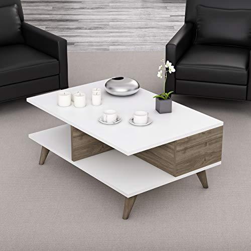 Homemania Table Basse, Panneaux de Particules mélaminés, Blanc, Noyer, 90 x 60 x 38,6 cm