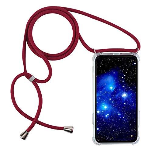 1stfee Compatible con Funda para XiaomiRedmiNote6/Note6Pro Funda para teléfono móvil con cordón Transparente TPU Diseño de Protección Anti-Shock Cover