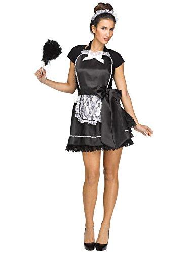 Fun World Women's French Maid Apron & Headband, Black, Standard