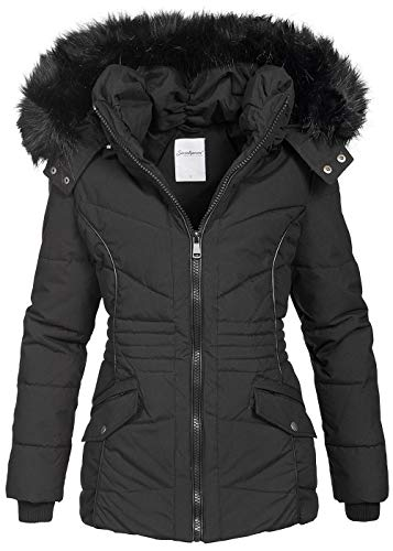Seventyseven Lifestyle Damen Winter Jacke Parka Kapuze und Webpelz abnehmbar schwarz, Gr:S