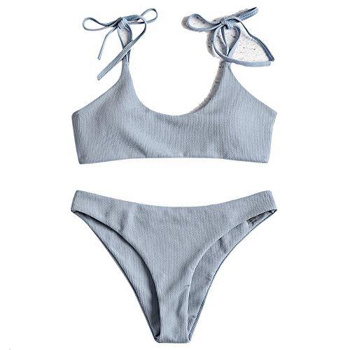 ZAFUL Damen Einfarbiger Gerippter Geknoteter Brazilian Bikini-Set Sexy Badeanzug Sommer Beachwear(Jeans blau L)