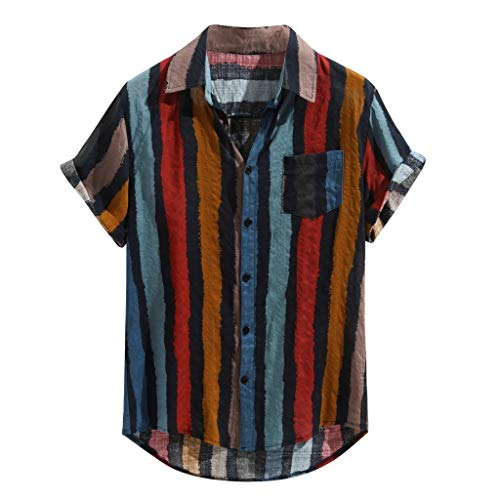 haoricu Summer Men's Short Sleeve Blouse Loose Color Stripe Lump Printing Shirts V Neck Button Up Tee Red