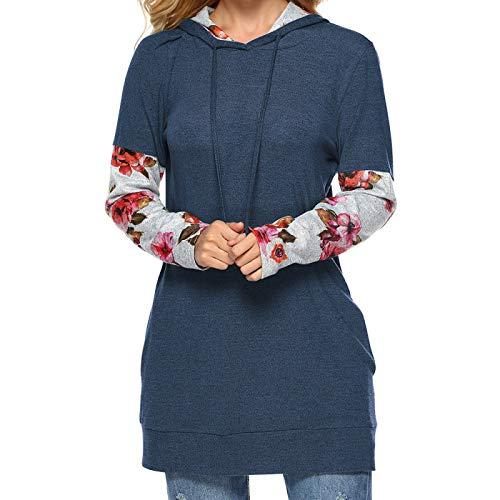 WMNU 2021 New Spring Long Sleeve Hooded Woman Sweatshirt Fashion Patchwork Floral Female Hoodies Blue