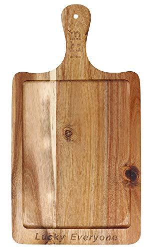 木製 取っ手付き カッティングボード 角型 まな板 ナチュラル ランチプレート おしゃれ 寿司台 北欧 レクタングル ホワイトデーギフト 食器 ピザ パン フルーツ ボード (L)