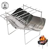 Charcoal BBQ Grill, Foldable Portable barbecue grill Stainless Steel Grill fire pit bbq for garden Load capacity 6.5kg Outdoor Stainless Steel Smoker BBQ for Picnic Garden Terrace Camping Travel