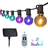 Solar String Lights Outdoor: 50FT Music Sync Color Changing LED String Lights with 30+3 G40 Bulbs,IP65 Waterproof,Patio String Lights with Remote Control for Backyard|Party|Café Indoor Outdoor Use