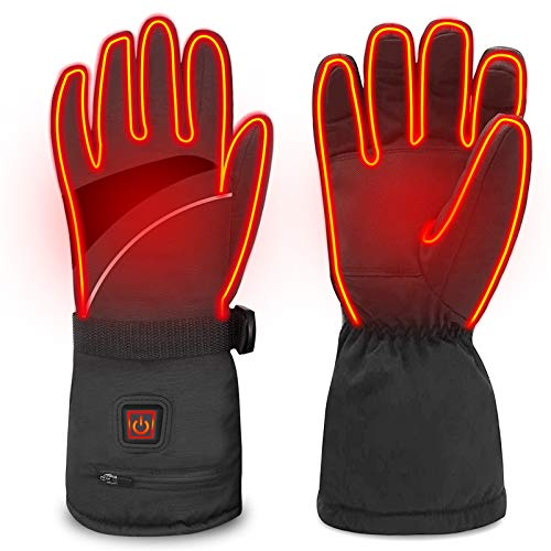 WAMTHUS Heated Gloves, Electric Gloves for Men Women 3 Heating Temperature Adjustable Touchscreen Waterproof Warm Gloves for All Kinds of Outdoor Activities(Black)