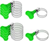 com-four® 10-teiliges Set Schlauch-Schellen, Schlauch-Klemmen in verschiedenen Größen mit Schlüssel zum Einfachen drehen, Spannbreite 14-35 mm, Bandbreite 8 mm (10-teilig - Mit grünem Schlüssel)
