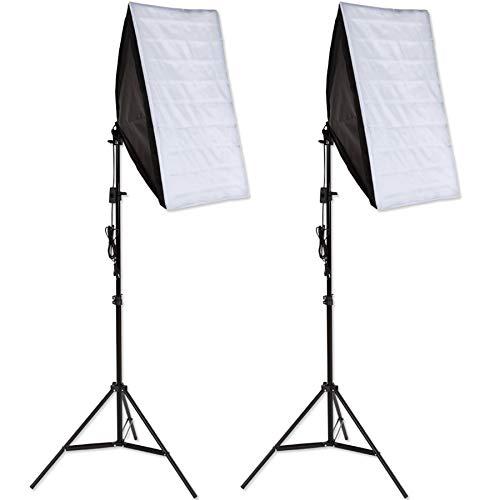 tectake 403354 Fotostudio Studioleuchte 2er Set, Softbox Kit, Dauerlicht, 5500K Tageslicht, Studioblitzset inkl. Leuchtmittel, verstellbares Stativ und Tragetasche