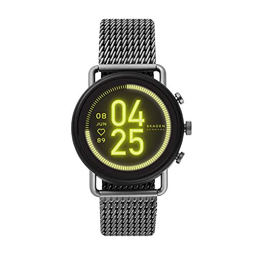 Skagen Connected Falster 3 Gen 5 Stainless Steel Mesh Touchscreen Smartwatch, Color: Gunmetal...