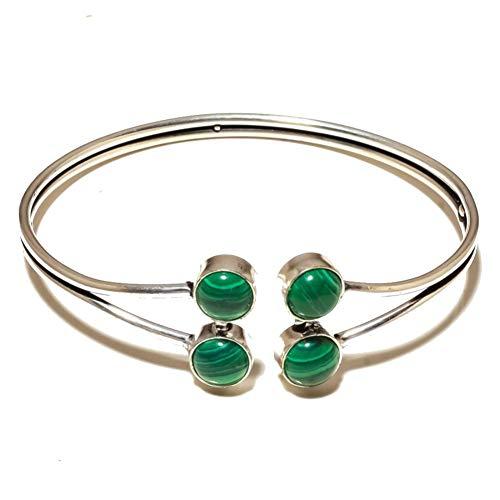 BRAZALETE / PULSERA de MALAQUITA verde para mujer, tamaño libre, chapado en plata de ley, joyería artística hecha a mano, tienda de variedad completa