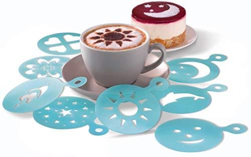 ERNESTO® 8 Cappuccino-Schablonen / Acht Verzierer mit 8 verschiedenen Motiven - Kunststoff - Ø 9 cm