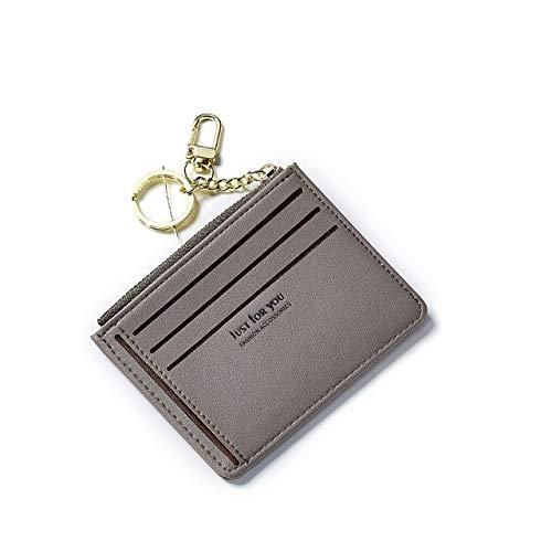 Nueva Cartera Delgada para Tarjeta de crédito pequeña, Llavero de Cuero para Mujer, Tarjetero de identificación, Billetera Delgada para Mujer, Mini Monedero-Gray