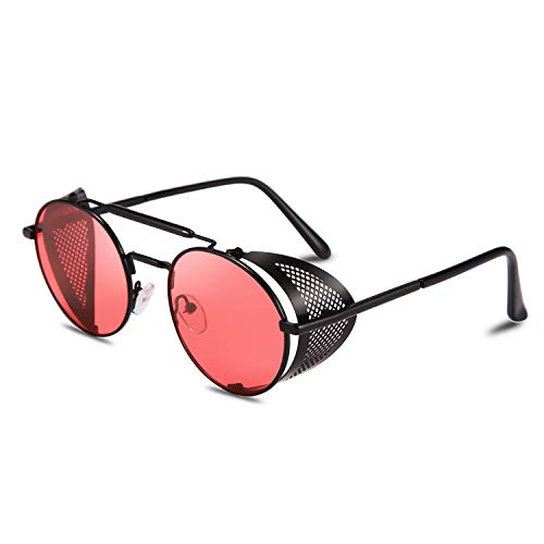 FEISEDY Steampunk Stil Sonnenbrille Herren Retro Runde Metallbrille UV400 Schutz Rundbrille für Damen B2518