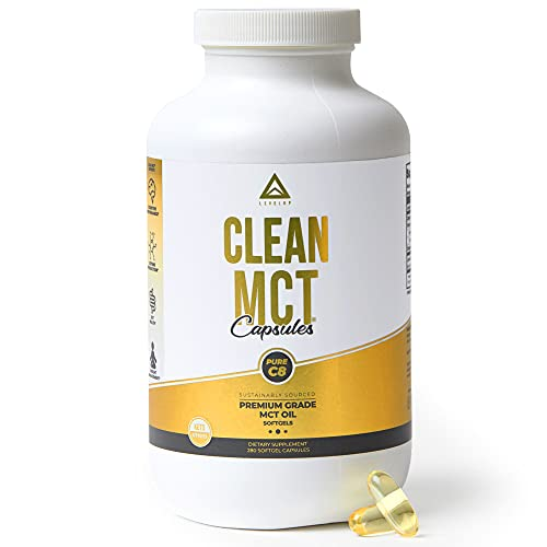 Clean MCT Oil Capsules: 100% Pure C8 Caprylic Acid Triglycerides | Best Ketogenic Supplement for Everyday Use | The Ultimate Keto Coffee Fat for Ketones | by LevelUp® (280 Count)