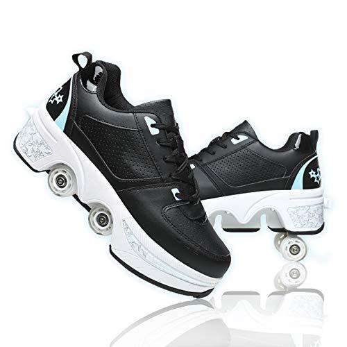 Hmlopx Zapatos con Ruedas Ajustables Patines MultifuncióN DeformacióN Patinaje sobre Ruedas Quad Skating Zapatillas Ligeras para NiñOs/Adolescentes/Adultos/Mujeres/Hombres,Black Blue,40