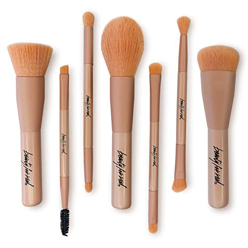 Beauty For Real Makeup Brush Set - Matte Pink, 7-Piece Set with 11 Total Brushes - Synthetic, Soft, Non-Shedding Bristles - Compact Size - Travel Bag Included - Vegan - 4.5 oz