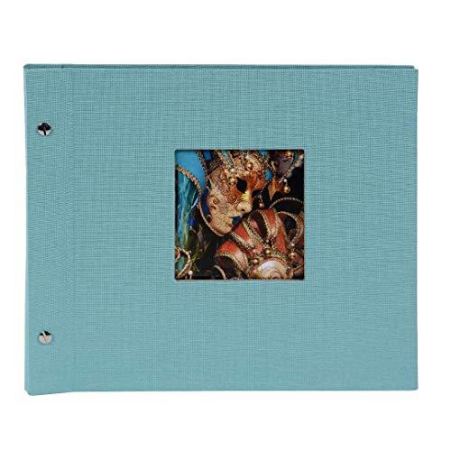 Goldbuch Schraubalbum mit Fensterausschnitt, Bella Vista Trend, 30 x 25 cm, 40 schwarze Seiten mit Pergamin-Trennblättern, Erweiterbar, Leinen, Aqua, 26507