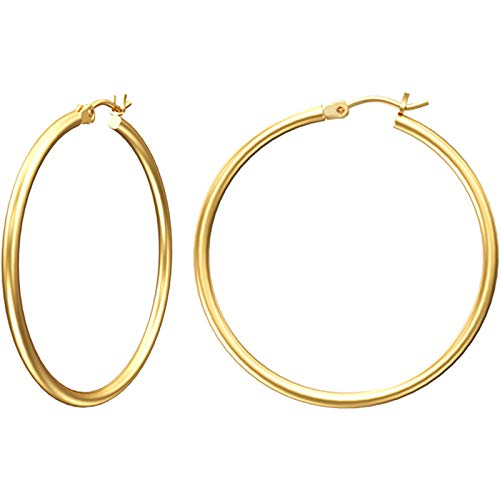 Gacimy Gold Hoop Earrings for Women, 14K Gold Plated Hoops with 925 Sterling Silver Post, Yellow Gold 30mm Medium Hoop Earrings for Women