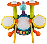 Kinder Trommel Set, Rabing Musikinstrumentenspielzeug mit 2 Trommelstöcken, Beats Flash Light und verstellbarem