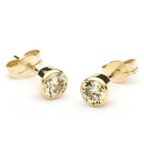 InCollections Damen-Ohrstecker 333/000 Gold mit Zirkonia limette 0020160013401