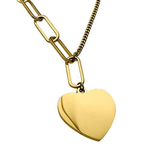 Collar de la famosidad AISADI 20090743/12 – Corazón dorado antialérgico de acero inoxidable quirúrgico – Blue Berry AISADI TTM Xuping Moonrier de acero inoxidable 316L MR316L Sunlight