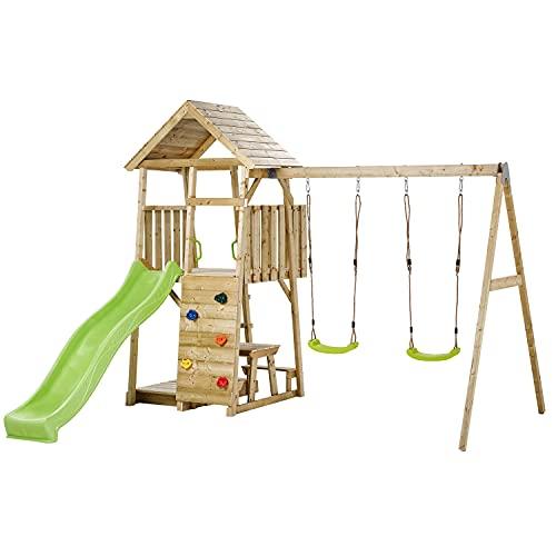 Kangui Aire de Jeux portique en Bois WOODI - Double balançoire, Toboggan, Mur d'escalade, bac à Sable, Table de Pique Nique, cabane, échelle