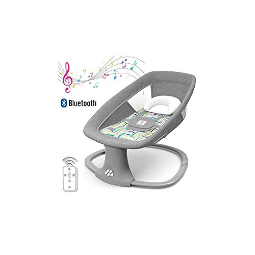 ZXLA 3-in-1 Multi-Function Baby Bouncer, Smart Bluetooth Soft Comfortable Breathable Electric Baby Rocking Chair, Battery or USB Powered