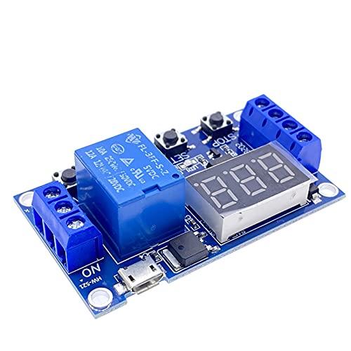 Relaismodul DC 5V 12V 24V LED Leichte digitale Zeitverzögerung 1 Wege Relais Trigger Zyklus Timer Verzögerungsschalter Leiterplatte Timing Control Module DIY. Bausatz für elektronische Komponenten