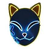 Tioeng Demon Slayer Mask,LED Cosplay Mask Japanese Anime Demon Slayer Anime Photography Props Toy (Yellow Ears)