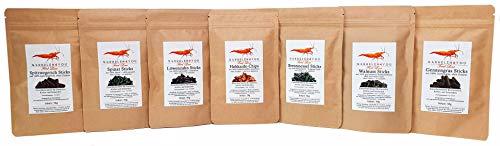 GARNELEN4YOU® Feed Line Plus-Bundle | hochwertige Futter-Sticks/Chips für Aquarienbewohner wie Garnelen, Krebse und Schnecken | 7er Bundle: Hok - BRE - Löw - Spin - Wal - Ger - Spitz