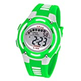 Kinder Digitaluhr,Jungen Mädchen Sport wasserdichte Multifunktions Armbanduhr für Kinder mit Alarm (Grün)