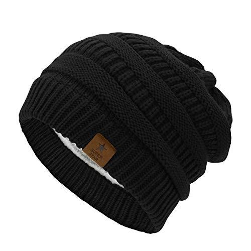 Durio Mütze Damen Winter Strickmütze Grobstrick Warme Beanie mit Innenfutter A Schwarz