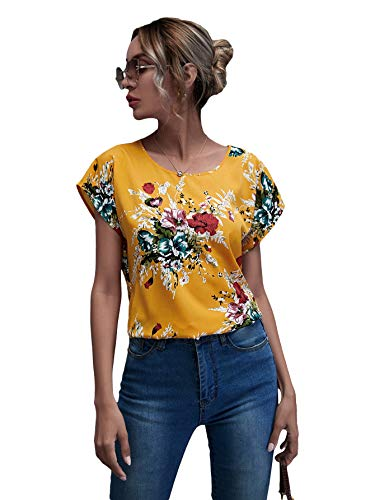 Milumia Women's Casual Floral Print Short Sleeve Blouse Round Neck Summer Shirt Top Mustard Yellow Large