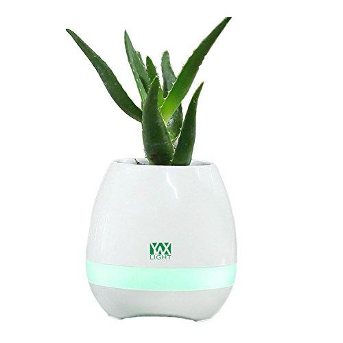 RZL LED Lights Luz de la noche LED Music Bluetooth Flower Pot Flower Florero Jugar The Piano Decoration Planter Speaker, Smart Touch Sensors LED (Color : White)