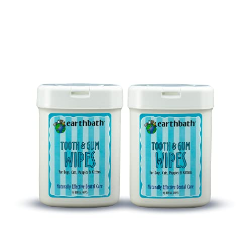 Earthbath Tooth & Gum Wipes for Dogs & Cats with Peppermint & Baking...