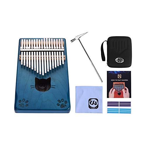 JSNRY Daumenklavier Ahornholz Finger Klavier mit Tragetasche Tuning Hammer Musical-Geschenk Klavier Kleines Musikinstrument ( Color : Blue )