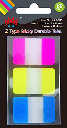 4A Pop-up Durable File Tabs,Divider Tabs,Page Marker Index Label Flags,Transparent Tabs Stickers,Writable Labels,Bookmarks,Repositionable, Great Labeling,Flaging,4A 6035